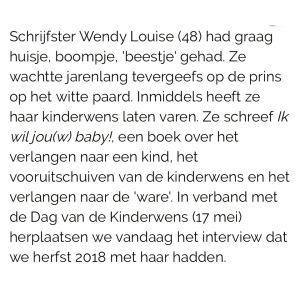 Vrouw Magazine, Telegraaf, Wendy Louise, Ik wil jouw baby